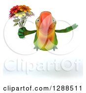 Clipart Of A 3d Green Macaw Parrot Flying And Holding A Bouquet Of Flowers Royalty Free Illustration