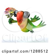 Clipart Of A 3d Green Macaw Parrot Wearing Sunglasses And Flying To The Left With A Holding A Bouquet Of Flowers Royalty Free Illustration