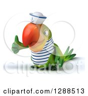 Clipart Of A 3d Green Parrot Sailor Facing Left And Giving A Thumb Up Royalty Free Illustration
