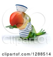 Clipart Of A 3d Green Parrot Sailor Pointing To The Left Royalty Free Illustration