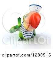 Clipart Of A 3d Green Parrot Sailor Pointing Outwards Royalty Free Illustration