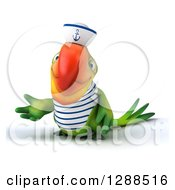 Clipart Of A 3d Green Parrot Sailor Presenting To The Left Royalty Free Illustration