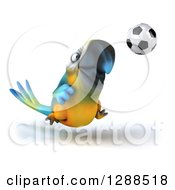 Clipart Of A 3d Blue And Yellow Macaw Parrot Playing Soccer Royalty Free Illustration by Julos