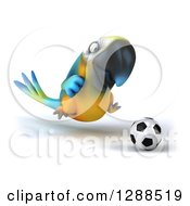 Clipart Of A 3d Blue And Yellow Macaw Parrot Playing Soccer 2 Royalty Free Illustration by Julos
