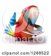 Clipart Of A 3d Scarlet Macaw Parrot Holding A Thumb Up And Reading A Book Royalty Free Illustration