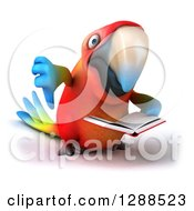 Clipart Of A 3d Scarlet Macaw Parrot Holding A Thumb Down And Reading A Book Royalty Free Illustration