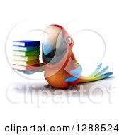 Clipart Of A 3d Scarlet Macaw Parrot Holding A Stack Of Books Royalty Free Illustration