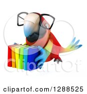 Clipart Of A 3d Bespectacled Scarlet Macaw Parrot Flying With A Stack Of Books Royalty Free Illustration