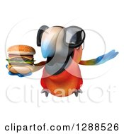 Clipart Of A 3d Scarlet Macaw Parrot Wearing Sunglasses And Flying With A Double Cheeseburger Royalty Free Illustration