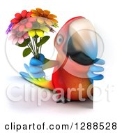 Clipart Of A 3d Scarlet Macaw Parrot Holding A Bouquet Of Flowers Around A Sign Royalty Free Illustration