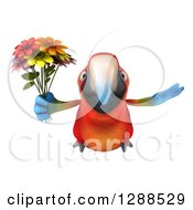 Clipart Of A 3d Scarlet Macaw Parrot Flying With A Bouquet Of Flowers Royalty Free Illustration