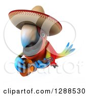 Clipart Of A 3d Mexican Scarlet Macaw Parrot Playing A Guitar And Flying Royalty Free Illustration