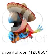 Clipart Of A 3d Mexican Scarlet Macaw Parrot Playing A Guitar And Flying 2 Royalty Free Illustration