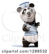 Clipart Of A 3d Panda Sailor Pointing Around A Sign Royalty Free Illustration