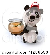 Clipart Of A 3d Panda Wearing A Baseball Cap And Holding Up A Honey Jar Royalty Free Illustration