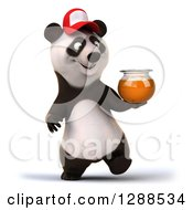 Clipart Of A 3d Panda Wearing A Baseball Cap And Walking With A Honey Jar Royalty Free Illustration