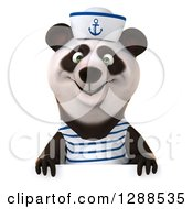 Clipart Of A 3d Panda Sailor Over A Sign Royalty Free Illustration