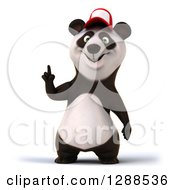 Clipart Of A 3d Panda Wearing A Baseball Cap And Holding Up A Finger Royalty Free Illustration