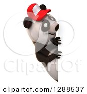 Clipart Of A 3d Panda Wearing A Baseball Cap And Looking Around A Sign Royalty Free Illustration