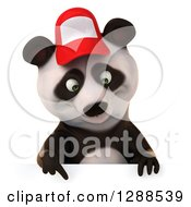 Clipart Of A 3d Panda Wearing A Baseball Cap And Pointing Down Over A Sign Royalty Free Illustration