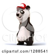 Clipart Of A 3d Panda Wearing A Baseball Cap And Facing Left Royalty Free Illustration