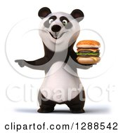 Clipart Of A 3d Panda Holding A Double Cheeseburger And Pointing Royalty Free Illustration