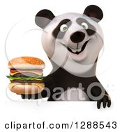 Clipart Of A 3d Panda Holding A Double Cheeseburger Over A Sign Royalty Free Illustration