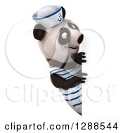 Clipart Of A 3d Panda Sailor Looking Around A Sign Royalty Free Illustration
