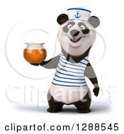 Clipart Of A 3d Panda Sailor Holding A Honey Jar Royalty Free Illustration