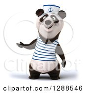 Clipart Of A 3d Panda Sailor Presenting To The Left Royalty Free Illustration