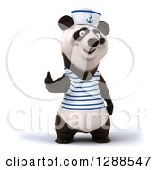 Clipart Of A 3d Panda Sailor Giving A Thumb Up Royalty Free Illustration