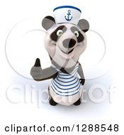Clipart Of A 3d Panda Sailor Holding A Thumb Up Royalty Free Illustration