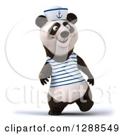 Clipart Of A 3d Panda Sailor Walking Royalty Free Illustration