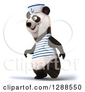 Clipart Of A 3d Panda Sailor Walking To The Left Royalty Free Illustration