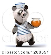 Clipart Of A 3d Panda Sailor Walking And Holding A Honey Jar Royalty Free Illustration