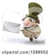 Clipart Of A 3d Irish Sheep Running And Holding An Envelope Royalty Free Illustration
