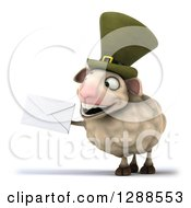 Clipart Of A 3d Irish Sheep Facing Slightly Left And Holding An Envelope Royalty Free Illustration