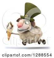 Clipart Of A 3d Irish Sheep Facing Left And Running With A Waffle Ice Cream Cone Royalty Free Illustration