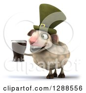 Clipart Of A 3d Irish Sheep Facing Left And Holding A Beer Royalty Free Illustration
