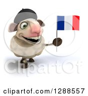 Clipart Of A 3d French Sheep Smiling And Holding A Flag Royalty Free Illustration