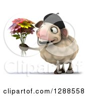 Clipart Of A 3d French Sheep Smiling And Holding A Boquet Of Flowers Royalty Free Illustration