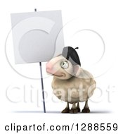 Clipart Of A 3d French Sheep Facing Left And Looking Up At A Blank Sign Royalty Free Illustration