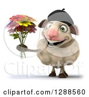 Clipart Of A 3d French Sheep Holding A Boquet Of Flowers Royalty Free Illustration