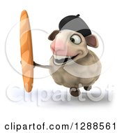 Clipart Of A 3d French Sheep Running And Holding A Baguette Royalty Free Illustration