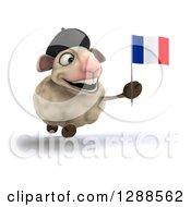 Clipart Of A 3d French Sheep Running Smiling And Holding A Flag Royalty Free Illustration