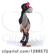 Clipart Of A 3d Female Chimpanzee Facing Right Royalty Free Illustration