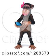 Clipart Of A 3d Female Chimpanzee Looking At A Smart Cell Phone Royalty Free Illustration