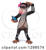 Clipart Of A 3d Female Chimpanzee Scratching Her Head And Looking At A Smart Cell Phone Royalty Free Illustration