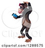 Clipart Of A 3d Female Chimpanzee Facing Left Scratching Her Head And Looking At A Smart Phone Royalty Free Illustration