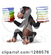 Clipart Of A 3d Bespecacled Chimpanzee Sitting Holding And Looking At A Stack Of Books Royalty Free Illustration